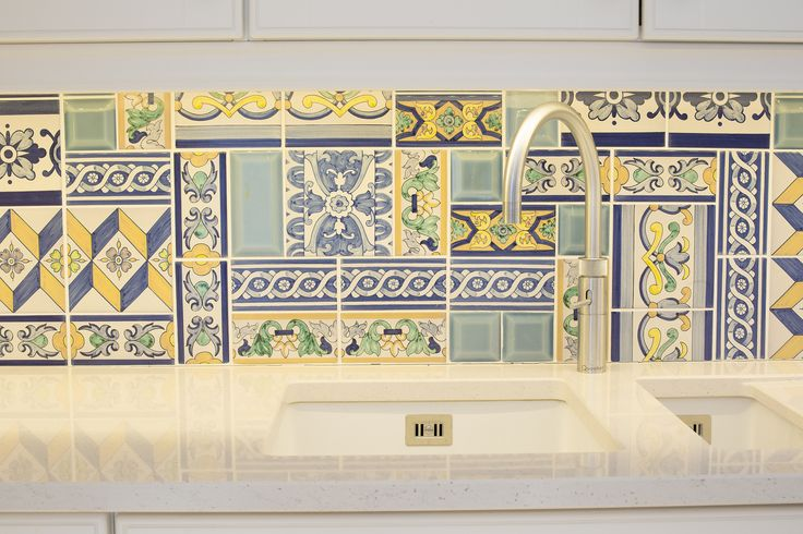 Traditional spanigh tiles from Seville in quirky mixed pattern layout by Kingston Lafferty Design #kld #kingstonlaffertydesign