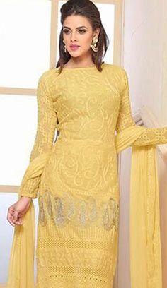 Beautiful Latest Yellow Chiffon Pakistani Suit