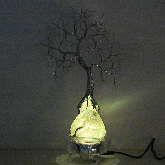 Simple Wire Tree Of Life Moonlight Silver Spirit sculpture on natural Brazil Clear Quartz Crystal cluster
