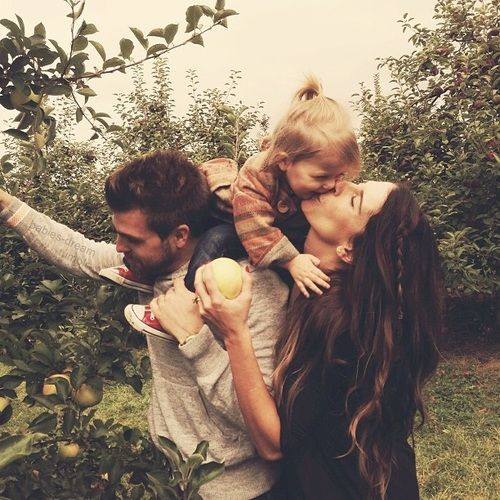 Family apple picking outing