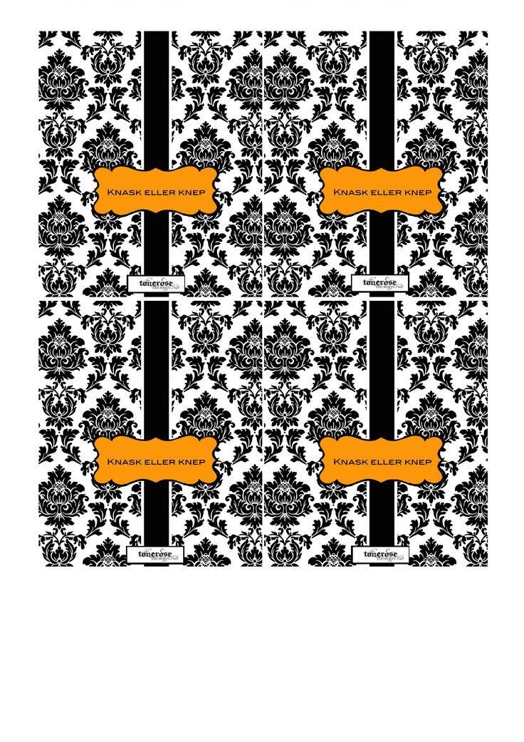 Gratis print - Halloween sjokoladewrapper ToneroseDesign