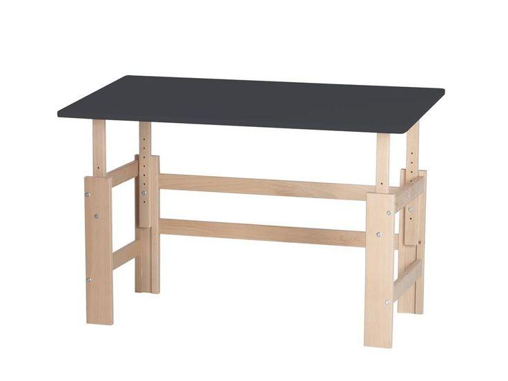 Höhenverstellbarer Schreibtisch Platte Kippbar, Breite 140cm, Manis-h Anthrazit / Buche (020)