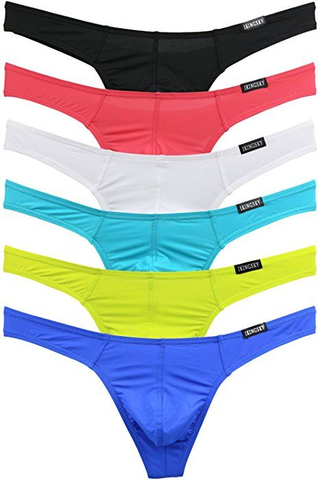 85d068f563 iKingsky Men's Sexy Comfort G-string Sexy Low Rise Thong Pack of 6 (Small,  Colors 1) at Amazon Men's Clothing store: