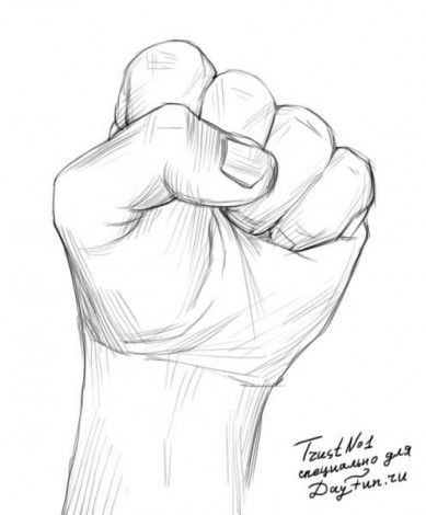 How to draw a fist step by step 4