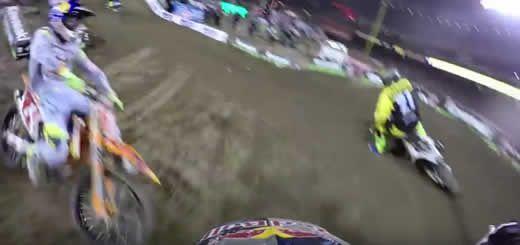 GoPro Helmet Cam Footage of James Stewart Crash with Ryan Dungey 2016 Monster Energy Supercross Anaheim 1