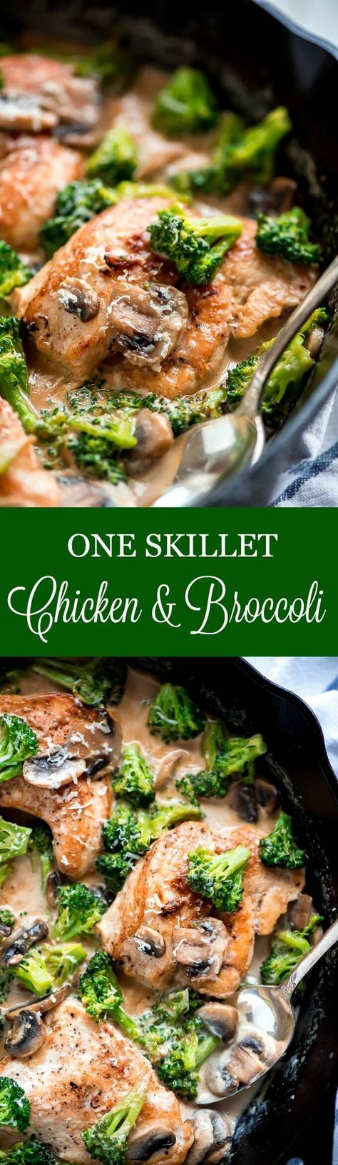 One Skillet Chicken and Broccoli is a super quick, creamy, delicious dinner that comes together in just 20 minutes and even faster to clean up. #easydinner #chickendinner #chickenrecipes #oneskilletchicken