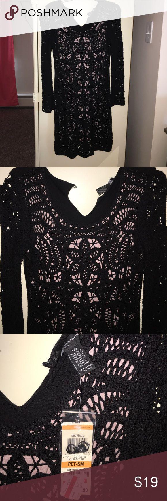 Crochet dress INC black crochet dress with pink on inside. Never worn size petite small INC International Concepts Dresses