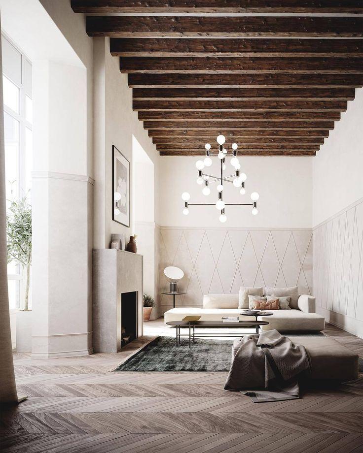 Exposed beams and herringbone floors. For more, visit houseandleisure.co.za