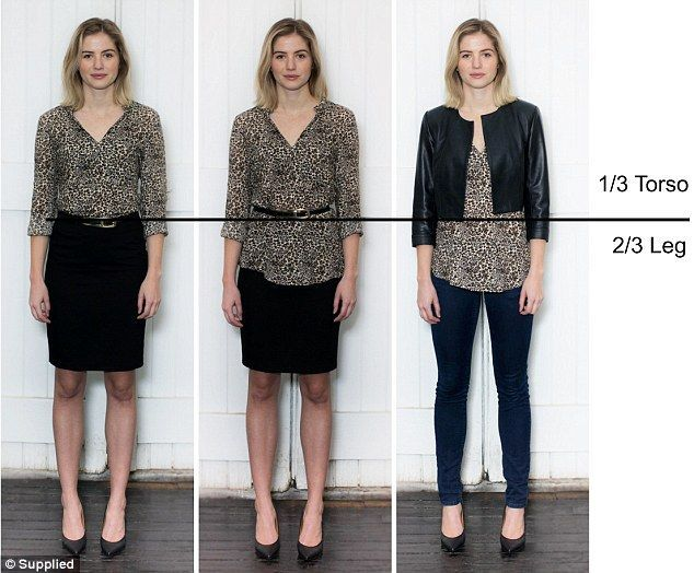 Rule of thirds: most flattering proportion with a 1/3 torso to 2/3 leg rule, created by outfit tricks such as tucking a shirt into a high waisted skirt, cinching a loose top at the waist, or wearing a cropped jacket. www.colorstylePDX.com, Joy Overstreet, color analyst, Portland OR
