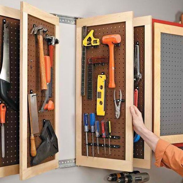 Peg Board Storage | DIY Tool Kits | Tool Organizer Ideas You Can Do at Home see more at http://diyready.com/diy-tool-kits-tool-organizer-ideas-you-can-do-at-home