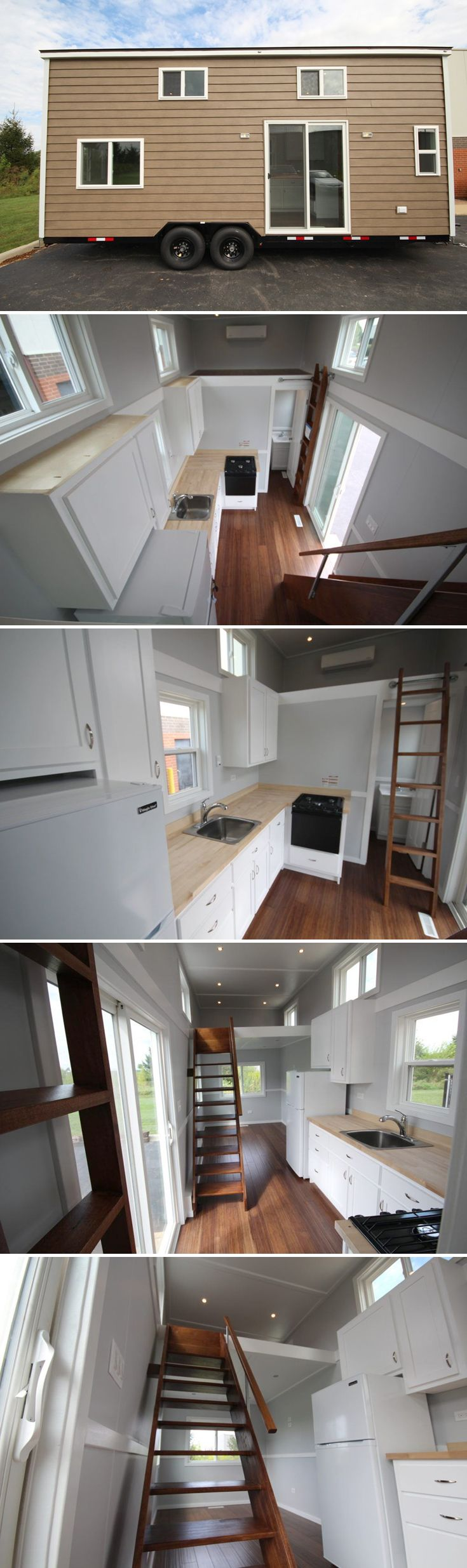 A 24' tiny house with custom all wood cabinets and bamboo flooring. Steel siding and steel stud construction make the house lighter and easier to tow.