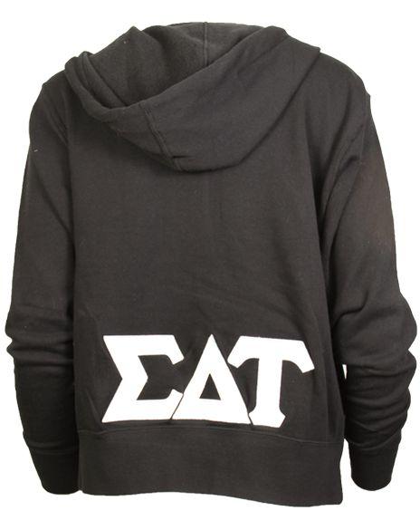 Sigma Delta Tau Greek Letters Applique Hoodie Sweatshirt by Adam Block Design | Custom Greek Apparel & Sorority Clothes | www.adamblockdesign.com