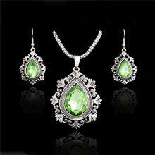 Atreus 4 barvy Svatební šperky Sady Silver Barva drahokamu Velký Hollow Waterdrop Crystal náhrdelník s přívěskem Náušnice Soupravy (Čína (pevninská část))