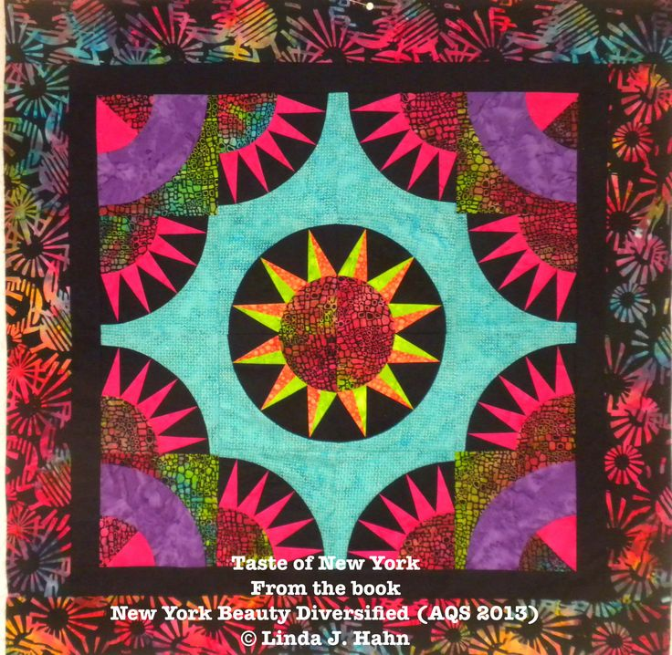 """Taste of New York - (Goodnight Greenwich) - 30"""" x 30"""" - a stunning small quilt that allows you to sample Linda's ONE PIN technique for making perfect New York Beauty blocks."""