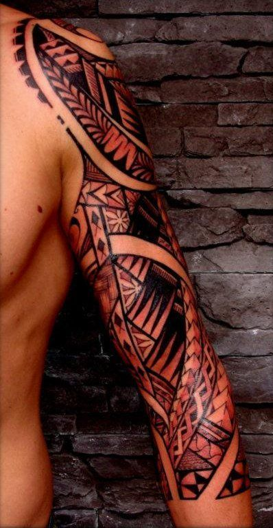 polynesian designs | Tattoos Sleeve of Maori Polynesian Style on Shoulder, Arm & Half ... #filipinotattoosmen