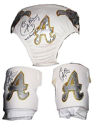 WWE ALBERTO DEL RIO RING WORN SIGNED TRUNKS & PADS W/ PROOF ADR