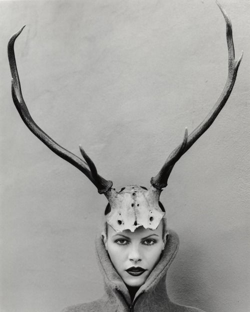 alexander mcqueen f/w 1996 'dante' antlers, emma balfour by martyn thompson