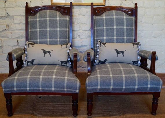 A Pair of Antique Armchairs upholstered in Abraham Moon Wool Fabric