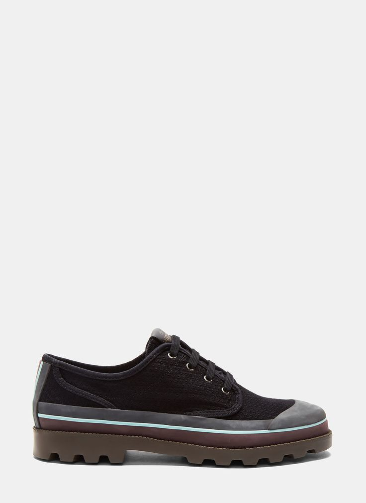 VALENTINO Men'S Perforated Canvas Rubber Capped Sneakers In Black. #valentino #shoes #