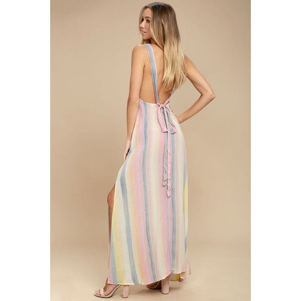 Billabong Sky High Light Pink Striped Maxi Dress ($60) ❤ liked on Polyvore featuring dresses, pink, beige maxi skirt, boho maxi dress, maxi skirts, maxi dress and bohemian maxi skirt