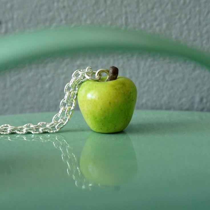 Collier pomme verte réaliste - fimo : Collier par crea-melie