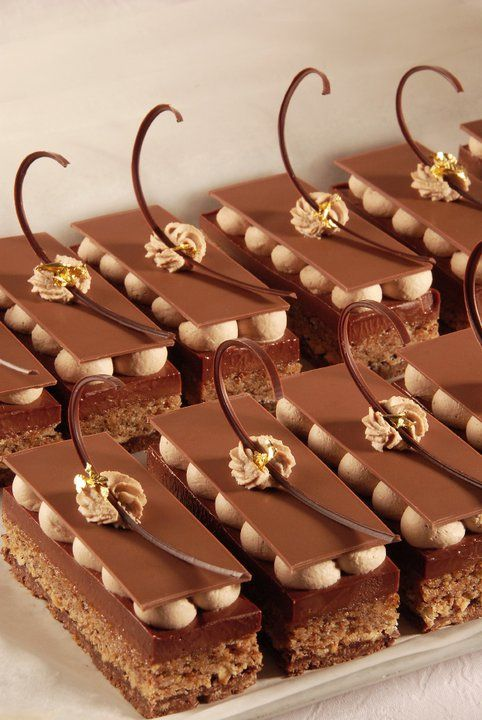 The petits gateaux of the French Mof Stéphane Glacier is named Le Petit Antoine: croquantine, hazelnut dacquoise, chocolate cremeaux, two thin chocolate layers with inside chantilly of milk chocolate.