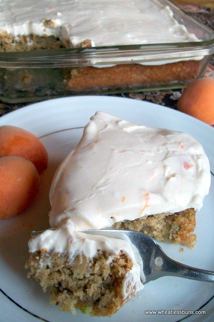 Zucchini Apricot Cake w/ Apricot Cream Cheese Frosting   Gluten Free, Low Carb   Wheatless Buns