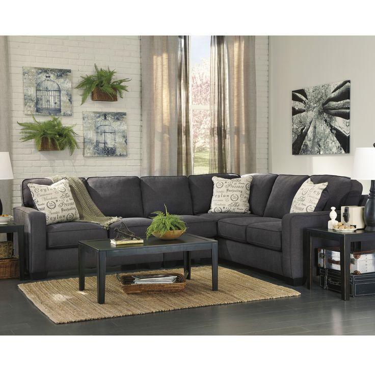 flash furniture refurbished signature design by ashley alenya 3piece raf sofa sectional in microfiber