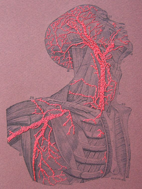Paper embroidery / Embroidered A5 Notebook / Anatomy / Blood by FabulousCatPapers