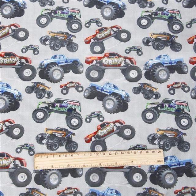 Monster Truck big wheel cars print 50cm X 145cm Cotton/polyester Blend Fabric