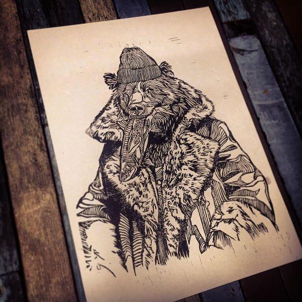Fisherbearman lino print. #thebearhugco #lukedixon #bear #fisherman #illustration #lino #print