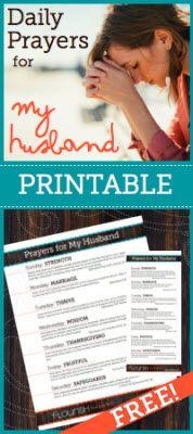 Prayers for Husband free printable