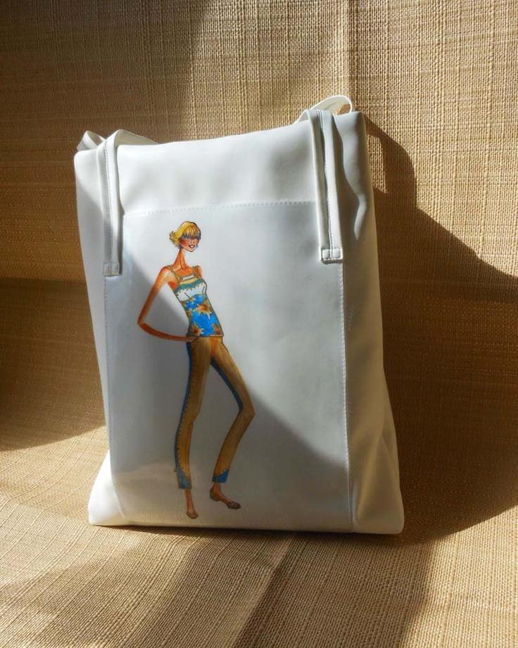 "Leather Handbag tote-- LeDiMarco Shop High Fashion/Gift/Cross body/Satchel/ Diaper Bag Cross body  ""Breath of Spring"" in White MEDIUM"