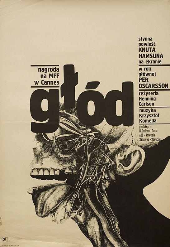 """Poster design by Bronislaw Zelek for 1966 film """"Hunger""""."""