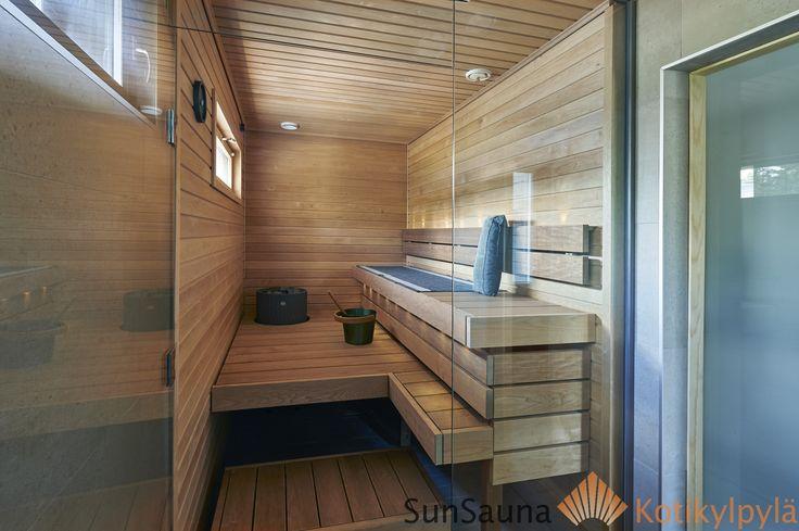 Sauna, lasiseinä, laude lämpökäsitelty haapa, Sun Sauna