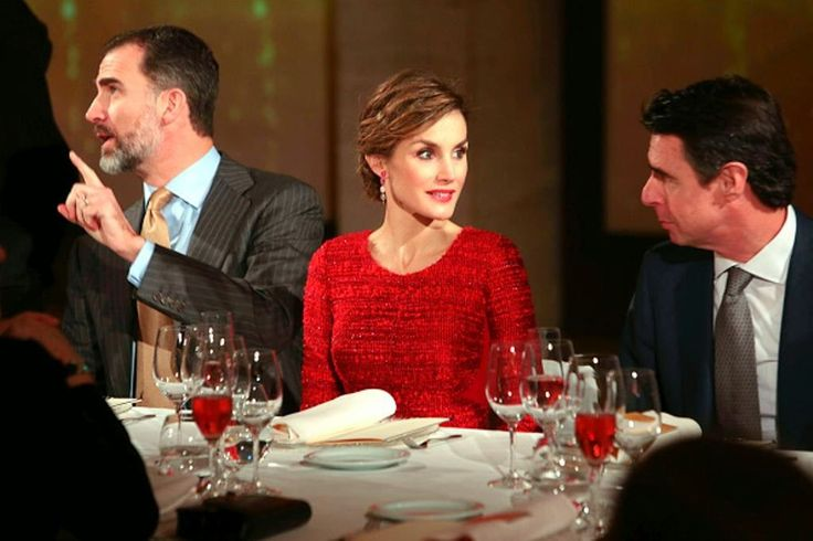 12 February 2015 - (L-R) Spanish King Felipe VI; Queen Letizia & Minister of Industry & Development Jose Manuel Soria, during their visit to Freixenet Cellars as part of the event company's centenary celebration in Sant Sadurní d'Anoia, in the comarca of the Alt Penedès in Catalunya, Spain, the center of production of a sparkling wine known as cava.