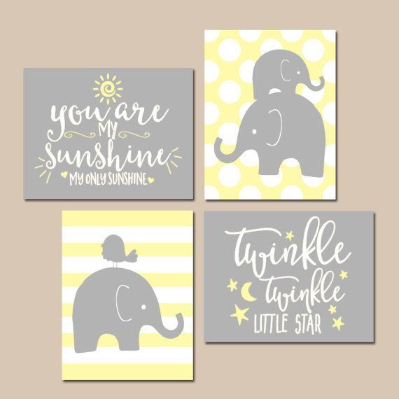 Girl Elephant Nursery Wall Art Yellow Gray Artwork by TRMdesign