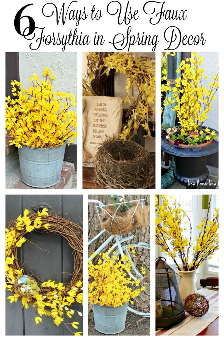 You don't have to wait till forsythia blooms to use it in your spring decor. Faux forsythia branches are readily available for diy projects like a wreath or an outdoor arrangement. Spring decor ideas for your home. http://www.newhousenewhomenewlife.com