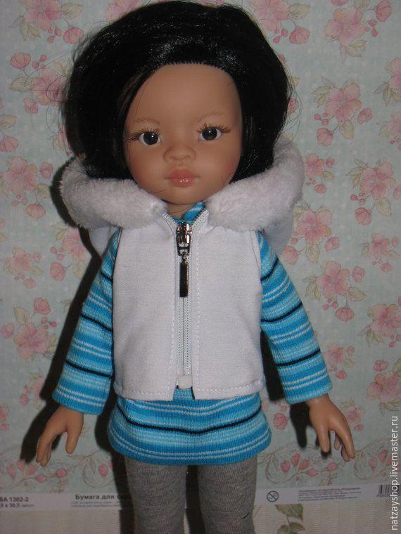 Купить Теплый стеганный жилет для кукол Paola Reina 32-33 - белый, одежда для…