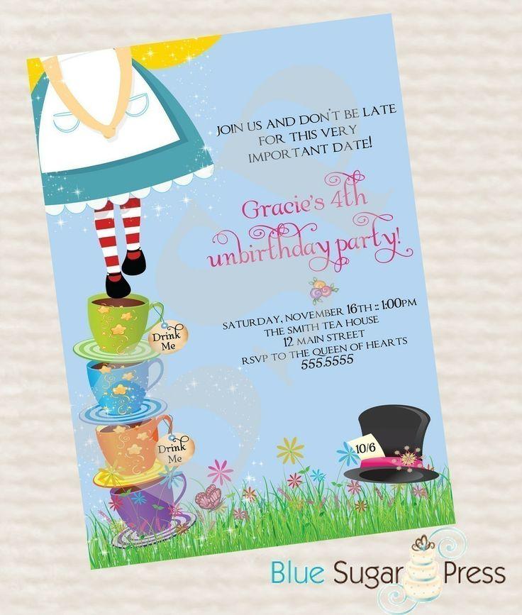 Best Alice Party Images On Pinterest Wonderland Party Alice - Free birthday invitations alice in wonderland