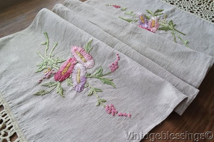 "71"" Antique Silk Embroidered Linen Arts & Crafts Victorian Table Runner"