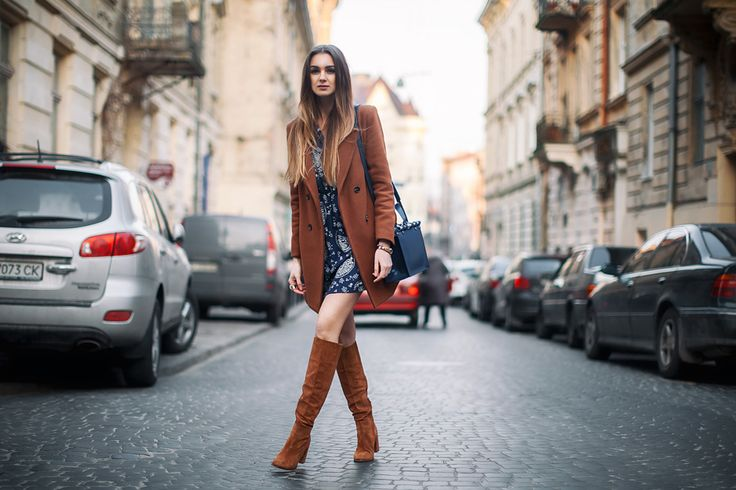 tall-suede-boots-brown-coat-outfit-street-style | Thigh High ...