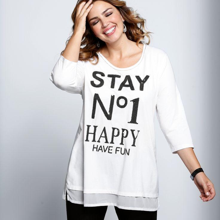 Tee-shirt effet 2 en 1 avec inscription pailletée… Have Fun ! #mode #curves #tee-shirt #blancheporte