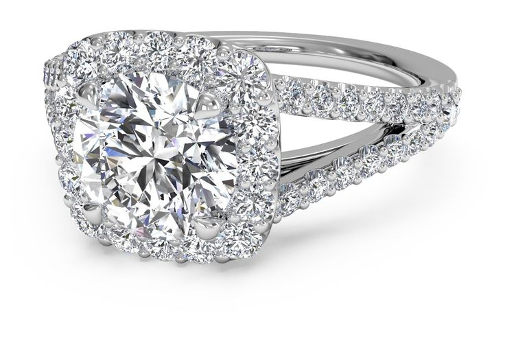 Round Cut Cushion Halo Diamond 'V' Band Engagement Ring in 18kt White Gold 0.50 CTW
