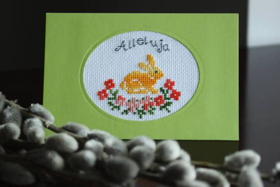 """Easter Bunny """"Alleluja"""",  Cross stitch greetings card, easter gifts, handmade Card, cross stitch Easter card, Unique Design, Ready to Ship"""