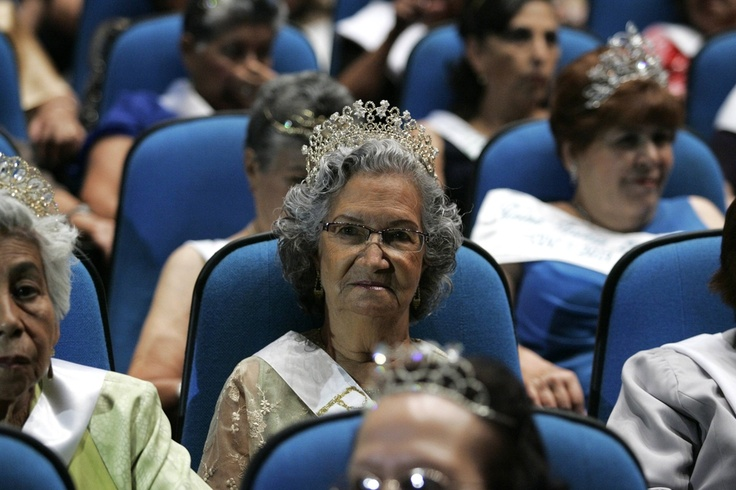 COMPETING BEAUTIES: Women wearing tiaras sat in the audience during a beauty pageant called the 'Queen of the Elderly' in Guadalajara, Mexico, Wednesday. (Alejandro Acosta/Reuters)
