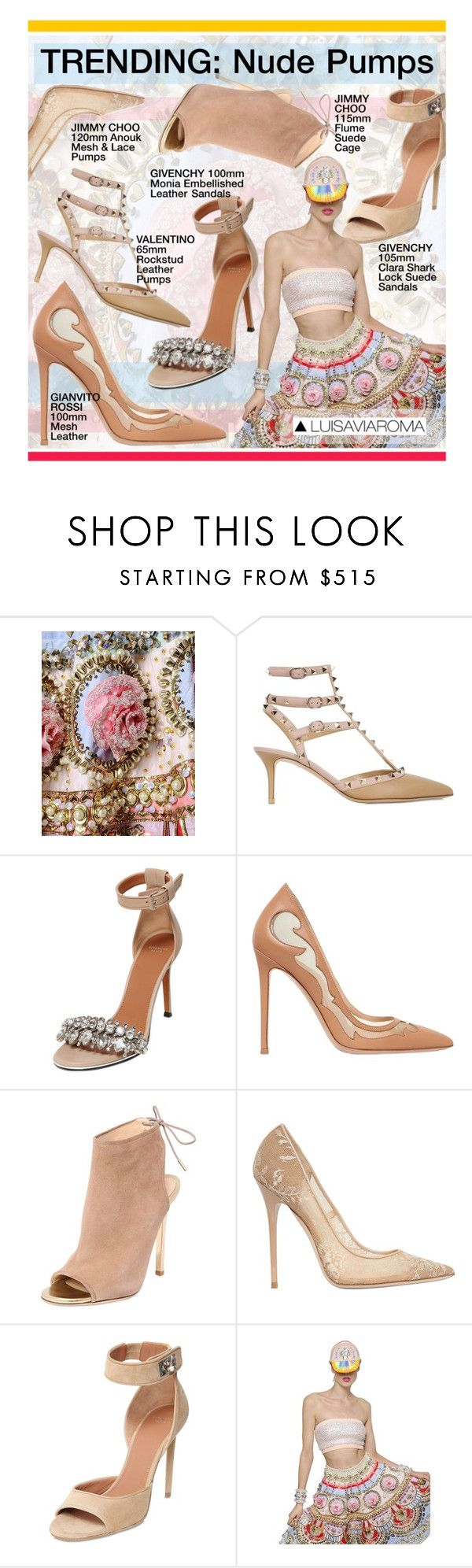 """""""#Trending #NudePumps from @Luisaviaroma"""" by rvgems ❤ liked on Polyvore featuring Manish Arora, Valentino, Givenchy, Gianvito Rossi, Jimmy Choo, women's clothing, women's fashion, women, female and woman"""