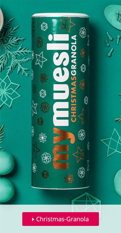 Unser Christmas-Granola mit Zimt und weißen Schoko-Sternen ist einfach perfekt für ein weihnachtliches Frühstück. #christmas #granola #weihnachten #mymuesli #müsli