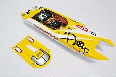 """﹩649.00. G30F ARTR Catamaran 50"""" FiberGlass 30CC Engine Gas RC Boat Water Cool Sys Yellow   Type - Speed/Racing Boat, Fuel Type - Gasoline, Required Assembly - Ready to Go/RTR/RTF (All included), Color - Red, Vintage (Y/N) - No, Material - Fiberglass,"""