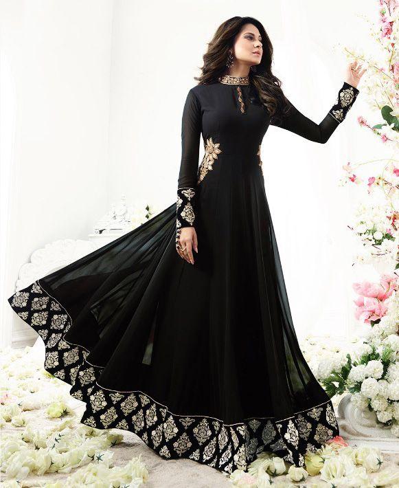 Click On Bazaar Black Color Floor Length Resham and Zari Work Anarkali with Pure Velvet Lace Border, Back Work and Shibori Printed Dupatta Salwar Suit.